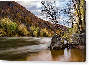 The Potomac In Autumn Canvas Print by Ed Clark
