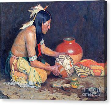 Clay Pottery Canvas Print - The Potter by Eanger Irving Couse