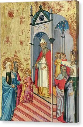 The Presentation Of The Virgin In The Temple Canvas Print by Andrea di Bartolo