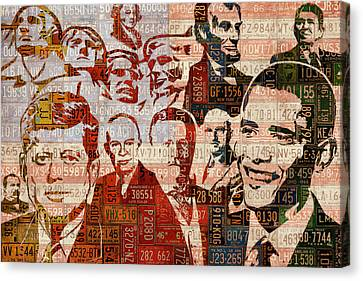 Barack Obama Portraits Canvas Print - The Presidents Past Recycled Vintage License Plate Art Collage by Design Turnpike
