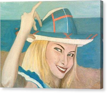 The Pretty Blonde Holds Her Hat Down On Her Head Canvas Print