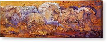 Impasto Horses Canvas Print - The Primal Run by Ritch Gaiti