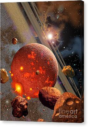 The Primordial Earth Being Formed Canvas Print by Ron Miller