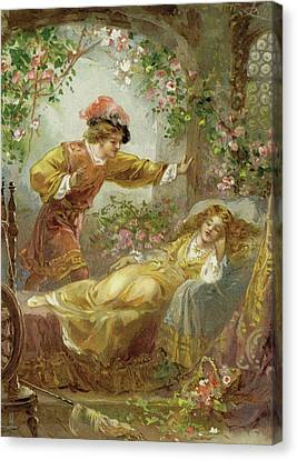 Flower Pink Fairy Child Canvas Print - The Prince Finds The Sleeping Beauty by English School