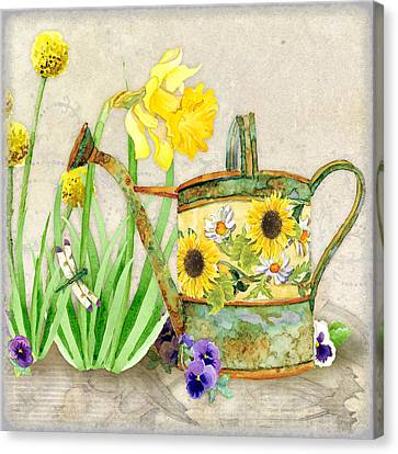 The Promise Of Spring - Watering Can Canvas Print by Audrey Jeanne Roberts