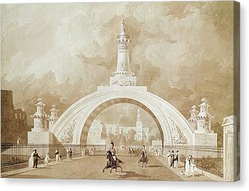 The Proposed Triumphal Arch From Portland Place To Regent's Park Canvas Print by John Martin
