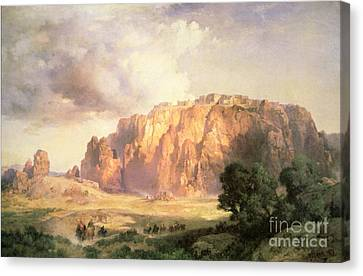 Stormy Skies Canvas Print - The Pueblo Of Acoma In New Mexico by Thomas Moran