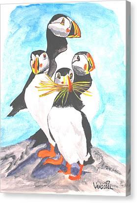 The Puffins Family Canvas Print by Scott D Van Osdol