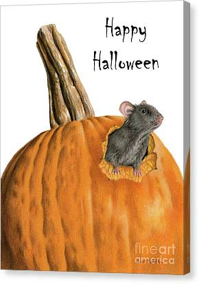 The Pumpkin Carver- Happy Halloween Canvas Print by Sarah Batalka