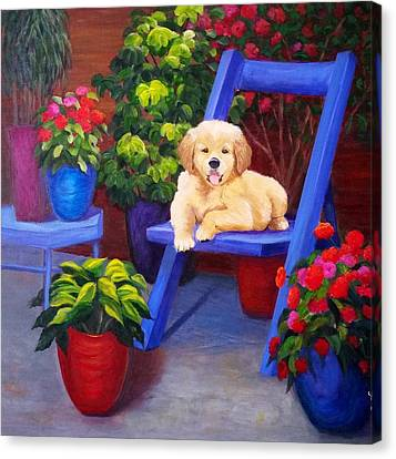 The Puppy In The Garden Canvas Print