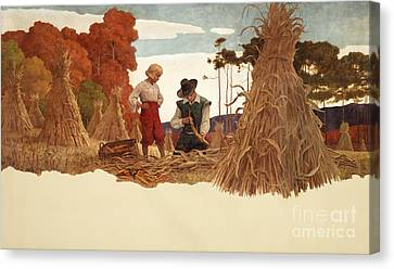 The Puritan Corn Husker Canvas Print by Newell Convers Wyeth