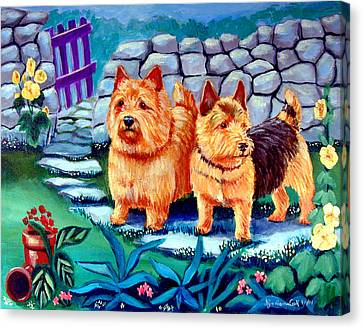 The Purple Gate - Norwich Terrier Canvas Print by Lyn Cook