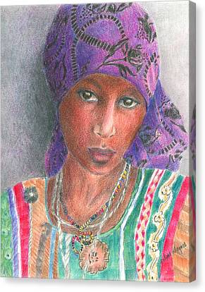 The Purple Scarf  Canvas Print by Arline Wagner