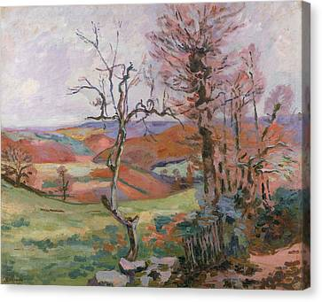 The Puy Barion At Crozant Canvas Print by Jean Baptiste Armand Guillaumin