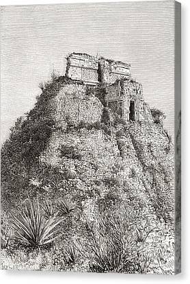 The Pyramid Of The Magician, Uxmal Canvas Print by Vintage Design Pics