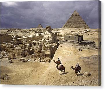 The Pyramids Of Giza And The Great Canvas Print by B. Anthony Stewart