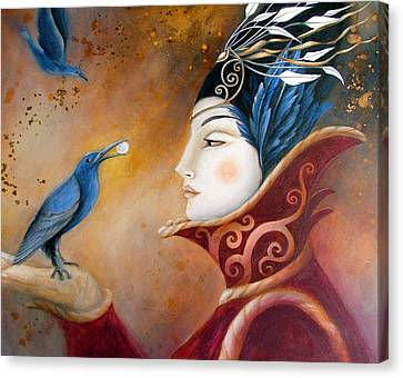 The Queen And Blue Crow Canvas Print by Amanda Clark