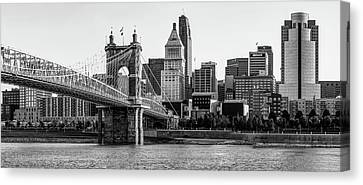 Canvas Print featuring the photograph The Queen City Panoramic - Cincinnati Skyline - Black And White by Gregory Ballos