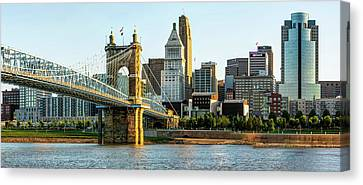 Canvas Print featuring the photograph The Queen City Panoramic - Cincinnati Skyline by Gregory Ballos