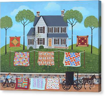Horse And Buggy Canvas Print - The Quilt Parade by Mary Charles