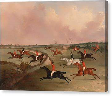 The Quorn Hunt In Full Cry Canvas Print by Mountain Dreams