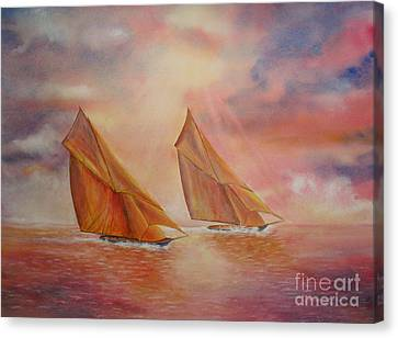 Canvas Print featuring the painting The Race by Beatrice Cloake