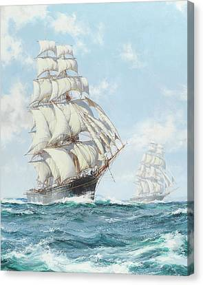The Race Between Taeping And Ariel - Detail Canvas Print by Montague Dawson