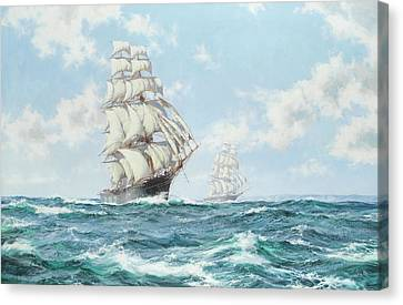 The Race Between Taeping And Ariel Canvas Print by Montague Dawson