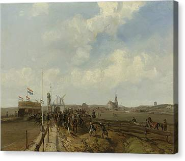 The Race Track At Scheveningen Canvas Print by Charles Rochussen