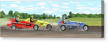 Canvas Print featuring the digital art The Racers by Gary Giacomelli