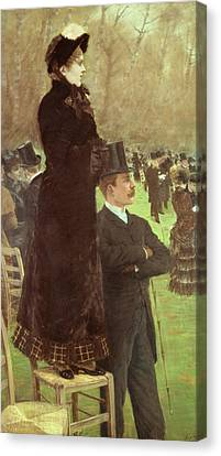 The Races At Auteuil Canvas Print by Joseph de Nittis