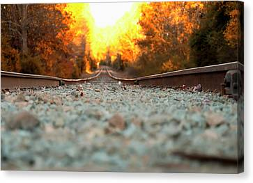 Canvas Print featuring the digital art The Railroad Tracks From A New Perspective by Chris Flees