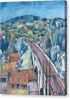 The Railway Bridge At Meulen Canvas Print by Walter Rosam