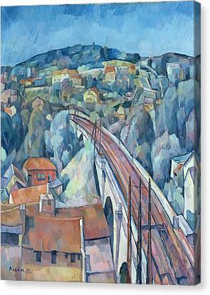 1916 Canvas Print - The Railway Bridge At Meulen by Walter Rosam