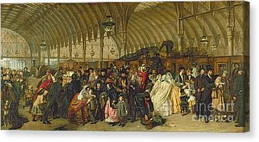 Traveller Canvas Print - The Railway Station by William Powell Frith