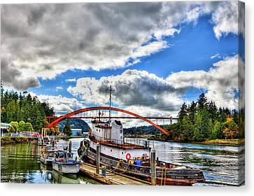 The Rainbow Bridge - Laconner Washington Canvas Print by David Patterson