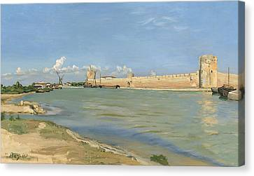 The Ramparts At Aigues Mortes Canvas Print by Jean Frederic Bazille