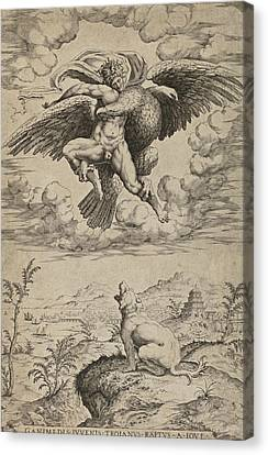 The Rape Of Ganymede By Jupiter In The Guise Of An Eagle Canvas Print by Nicolas Beatrizet