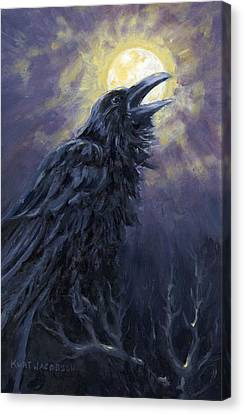 Canvas Print featuring the painting The Raven Called My Name by Kurt Jacobson
