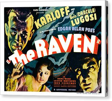 The Raven, From Left Boris Karloff Canvas Print by Everett