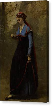 The Reader Canvas Print by Jean Baptiste Camille Corot