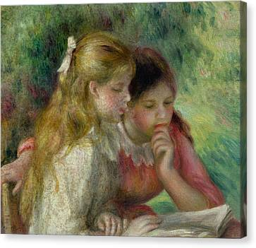 1890 Canvas Print - The Reading by Pierre Auguste Renoir