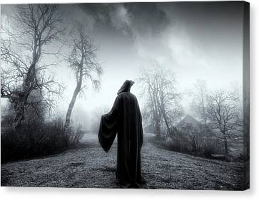 Canvas Print featuring the photograph The Reaper Moving Through Mist And Fog by Christian Lagereek