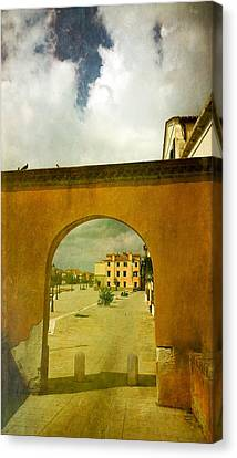 Canvas Print featuring the photograph The Red Archway by Anne Kotan
