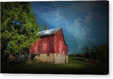 Canvas Print featuring the photograph The Red Barn by Marvin Spates