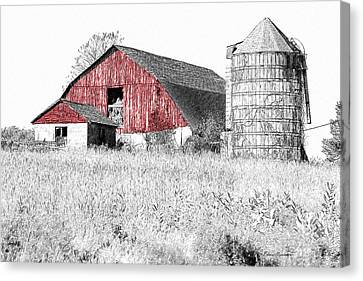 The Red Barn - Sketch 0004 Canvas Print by Ericamaxine Price