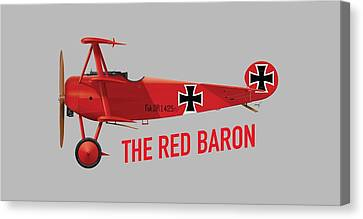 The Red Baron's Fokker Dr.1 - Side Print Canvas Print by Ed Jackson