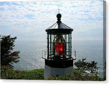 The Red Beacon On Tillamock Bay Canvas Print by Christiane Schulze Art And Photography