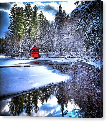 The Red Boathouse On Beaver Brook 2 Canvas Print by David Patterson