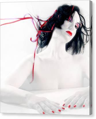 The Red Breeze - Self Portrait Canvas Print by Jaeda DeWalt